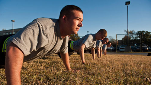 ROTC cadets doing pushups